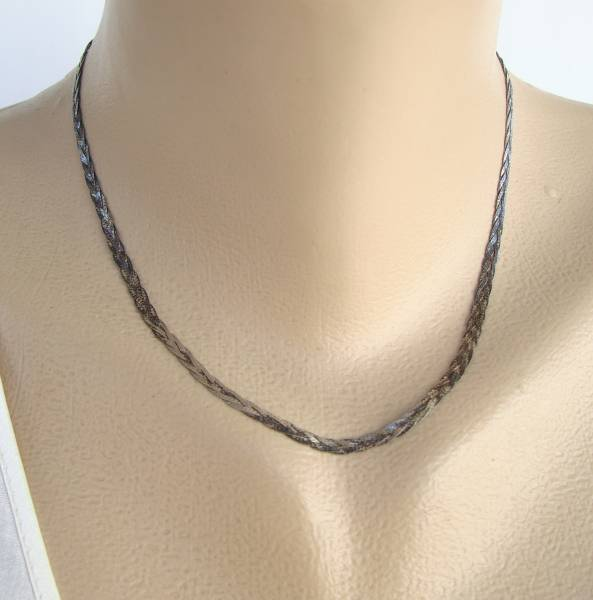 Triple Strand Twisted Sterling Silver Necklace Vintage Jewelry
