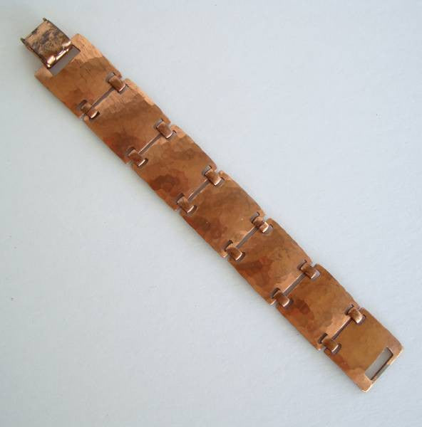 Koivu Copper Hammered Link Bracelet Handcrafted Vintage Jewelry