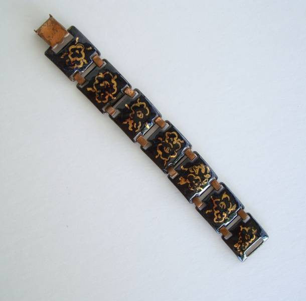 Black Gold Enamel Linked Copper Bracelet c1940s Vintage Jewelry