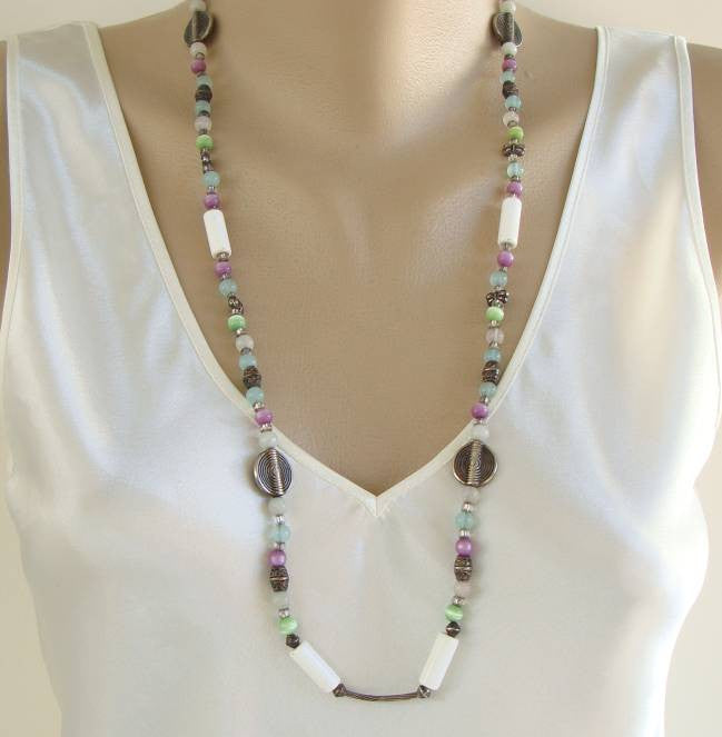Colorful Gemstone Necklace Silver Beads Amethyst Moonstone Tigers Eye Jewelry