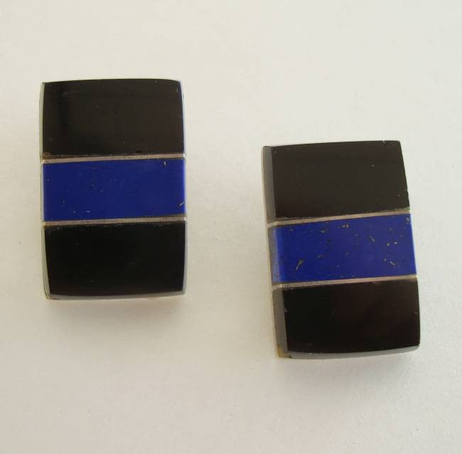 Taxco Mexican Sterling Silver Lapis Obsidian Onyx Clip Earrings Vintage