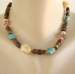 Gemstone Wood Bead Necklace Smoky Quartz Turquoise Abalone Jewelry