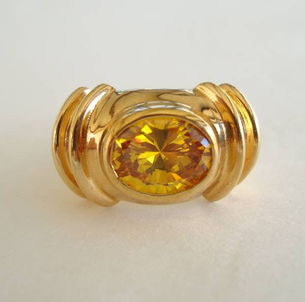 Topaz Oval Cut CZ Ring Art Deco Style Size 8 Sterling Vermeil Jewelry