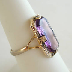 Clark and Coombs Art Deco Amethyst Ring Size 6 18K EP Vintage Jewelry