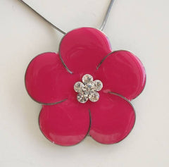 Express Enameled Pink Pansy Slider Pendant Necklace Floral Jewelry