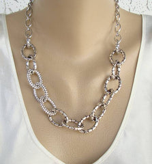 Brighton Set Embossed Rhinestone Loops Necklace Earrings Designer Jewelry