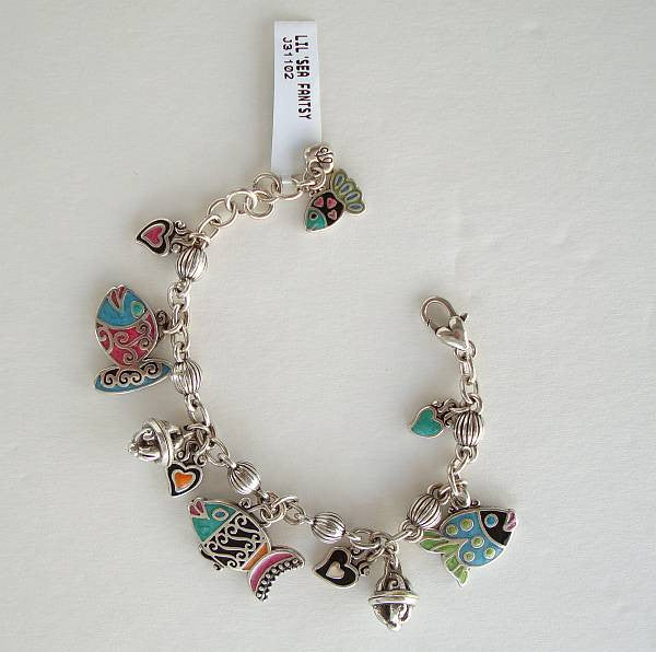 Brighton LIL' SEA FANTASY Charm Bracelet Colorful Enamel Fish Tropical