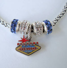 Brighton Las Vegas Charm Necklace Blue White Rhinestone Sliders Jewelry