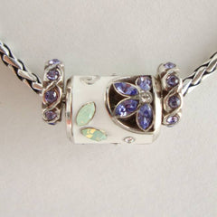 Brighton ABC's Amethyst Rhinestone Charm Necklace Floral Jewelry
