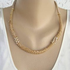 Chico's Opalite Mesh Chain Necklace Smoky Gray Rhinestones Jewelry