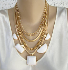 Chico's 4-Strand Necklace White Geometric Drops Art Deco Style Jewelry