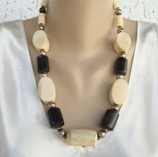 Chunky Bone Necklace Cyclinders White Dark Brown Vintage Jewelry