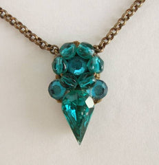 Vintage Handcrafted Necklace Emerald Green Rhinestones Jewelry