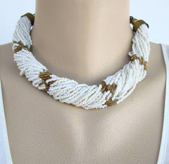 35-Strand Microbead Torsade Necklace White Brown Vintage Jewelry