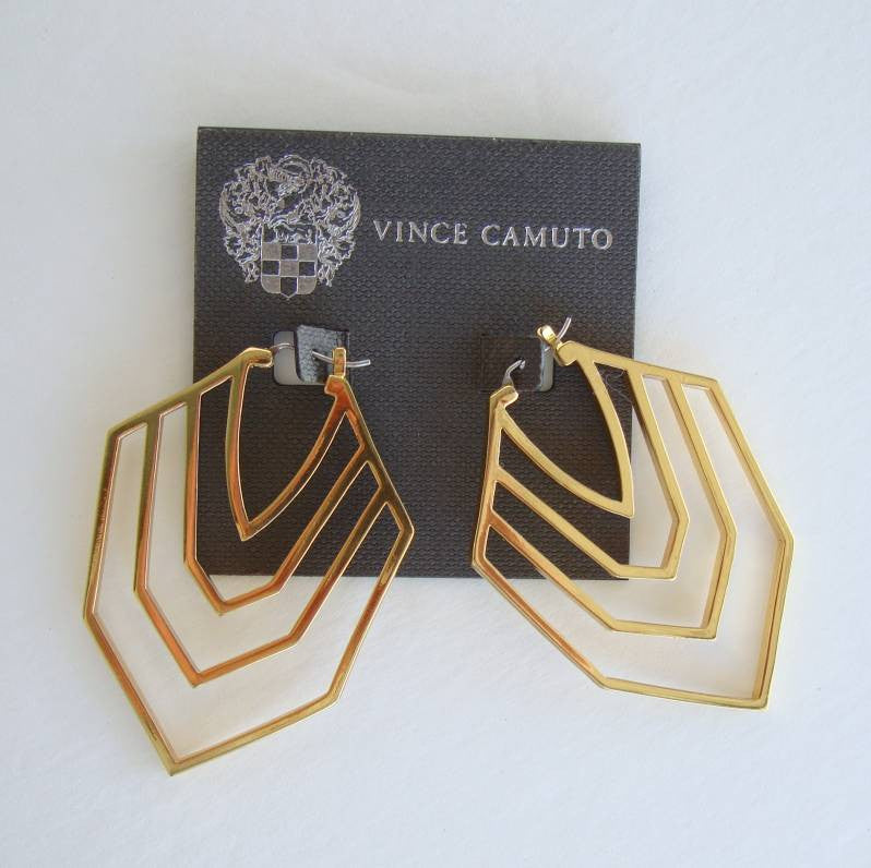 Camuto Vince Retro Earrings Geometric Hoops Designer Jewelry