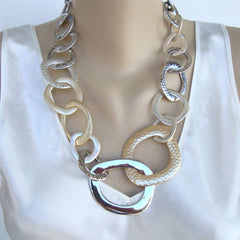 Chico's Runway Necklace Silvertone Goldtone Hoops Signed Jewelry