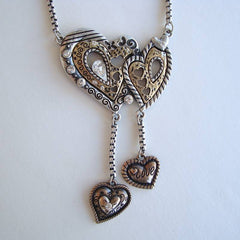 Unusual Entwined Hearts Pendant Necklace Brass Silver Sweetheart Jewelry