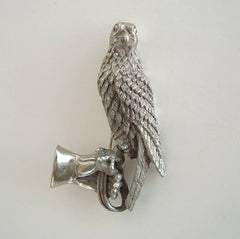 Tortolani Falcon Brooch Falconer Gloved Hand Vintage c1965 Figural Jewelry