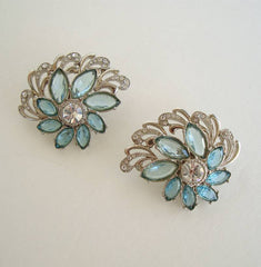1928 Company Large Runway Clip On Earrings Blue Navette Rhinestones Floral Jewelry