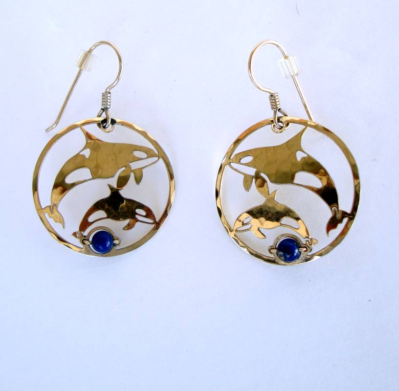 Wild Bryde Openwork Dolphin Earrings Lapis Stone Marine Jewelry