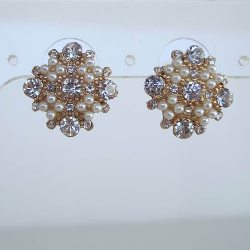Rhinestone Seed Pearl Post Earrings Diamond-Shaped Sparkling Jewelry