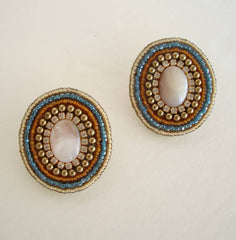 Mary P Moonstone Rhinestone Post Earrings Beaded Signed Gemstone Jewelry