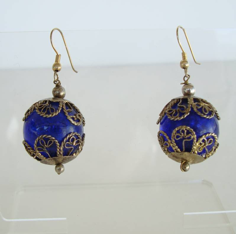 s antiqued glass earrings cobalt blue jewelry vintage caged products sharon silvertone