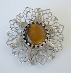 Tigers Eye Filigree Brooch Vintage Gemstone Floral Jewelry