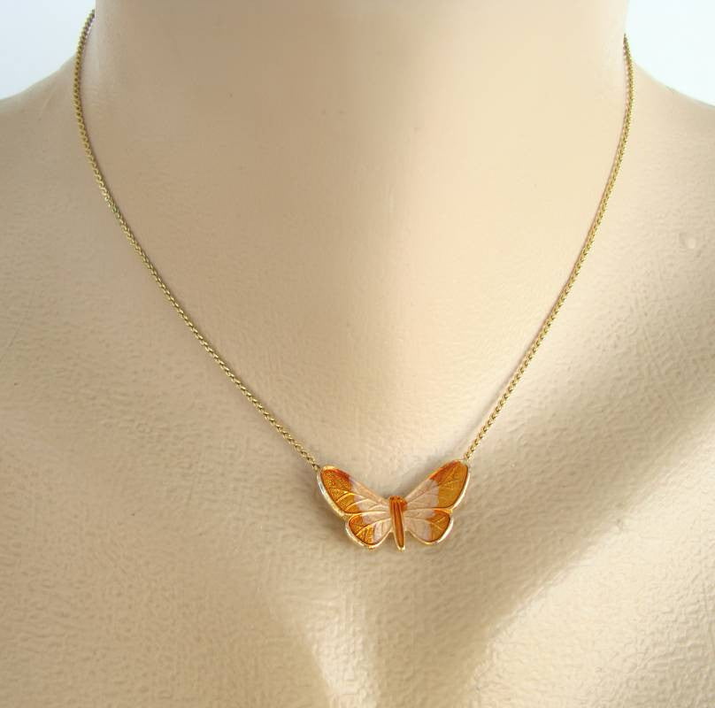 Topaz Enamel Butterfly Necklace Figural Jewelry