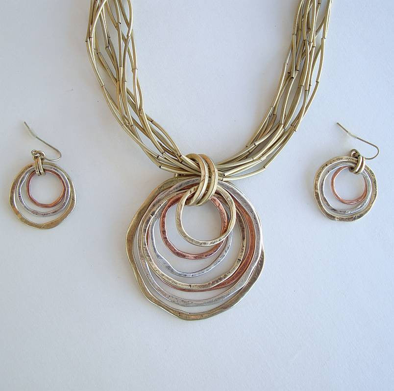 Copper Silver Brass Rings 10-Strand Necklace Earrings SET Mixed Metals Jewelry
