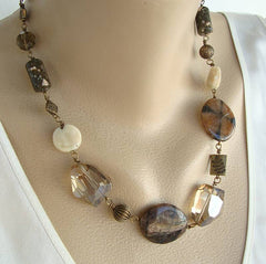 Mixed Gemstone Necklace Jaspers Agates Quartz Embossed Brass Beads