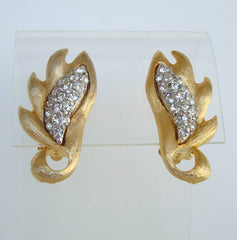 Polcini aka Ledo Signed Clip On Earrings Pavé Rhinestones Vintage Jewelry