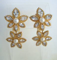 Christian Dior Rhinestone Pearl Dangle Clip On Earrings Designer Jewelry