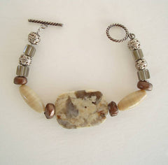 Picture Jasper Bracelet Floral Design Gemstone Jewelry
