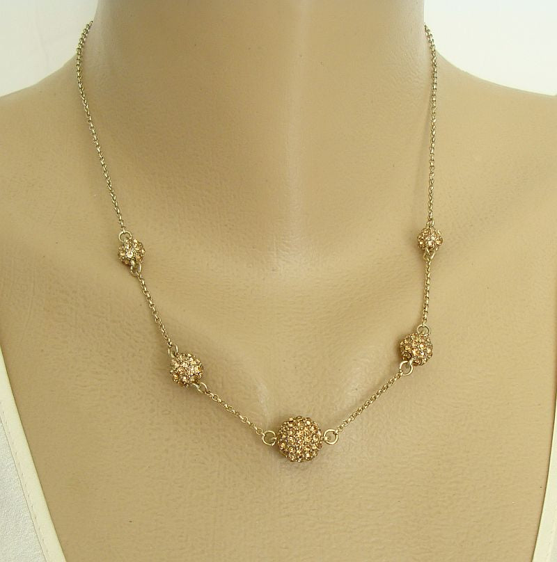 Crystal Brands - Trifari Amber Rhinestone Balls Necklace Sparkling Jewerly
