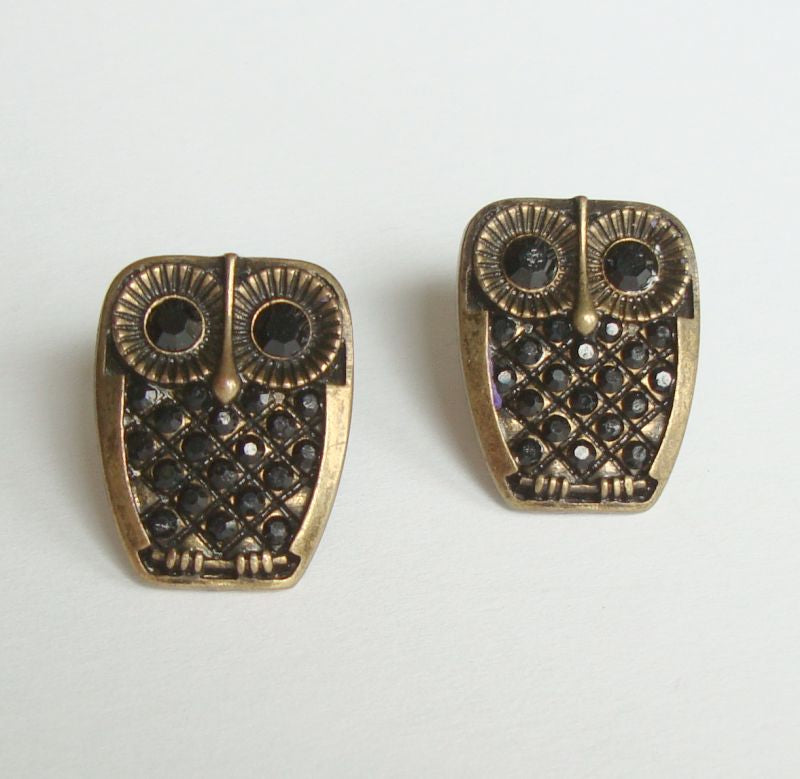 Owl Earrings Black Rhinestones Antiqued Metal Post Style Cute Figural Jewelry