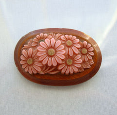 High Relief Celluloid Brooch Pink Flowers Vintage Floral Jewelry