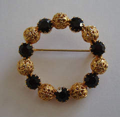 Black Rhinestone Openwork Goldtone Beads Circle Pin Vintage Jewelry