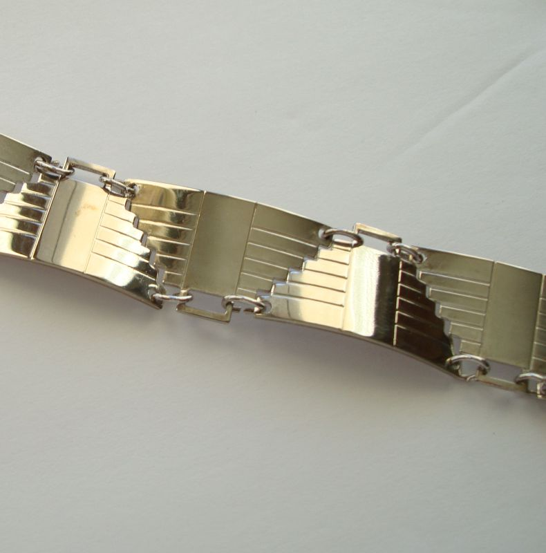 Sterling Silver Aztec Design Link Bracelet Lightweight Geometric Jewelry