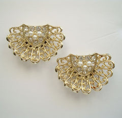 Large Pearl Rhinestone Shoe Clips Vintage Wedding Prom Jewelry