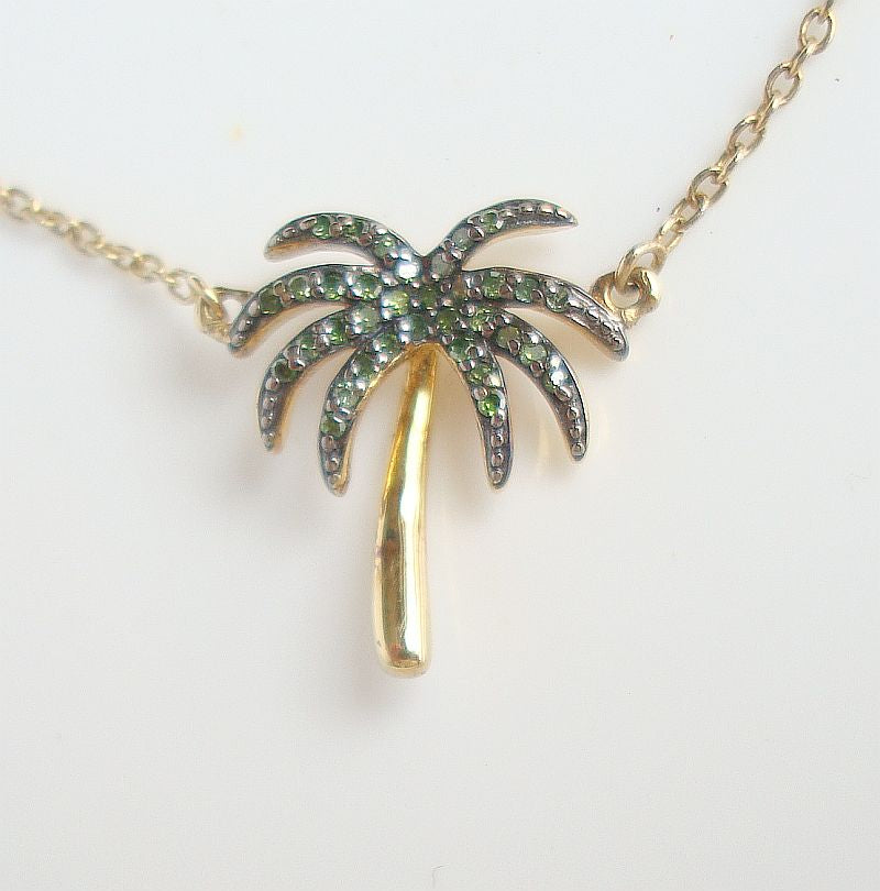 Green Diamond Palm Tree Pendant Necklace 14K Vermeil 1/10 ct New w Tag Jewelry