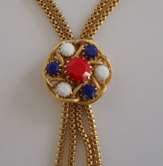 Hobé Lariat-Style Necklace Red Blue White Snake Chain Vintage Jewelry