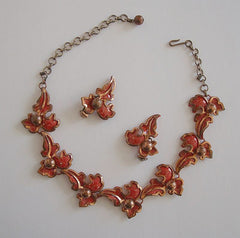 Matisse Style Red Enameled Copper Necklace Clip Earrings Set Vintage Jewelry