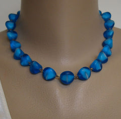 Cobalt Blue Givre Glass Necklace Earring Set Vintage Jewelry