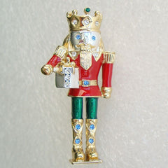 Exquisite Enameled Nutcracker King Brooch Colorful Christmas Holiday Jewelry