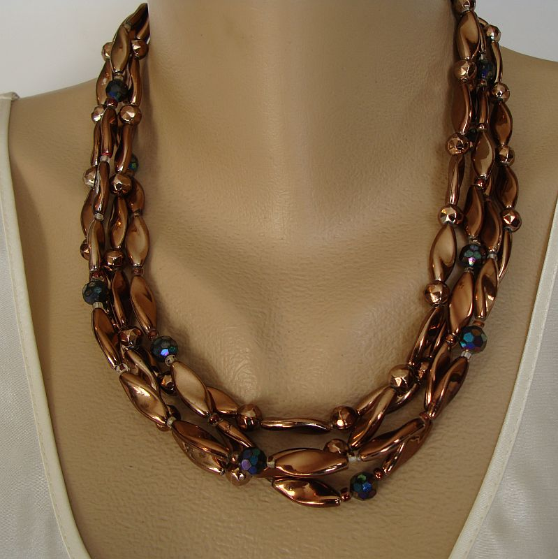 West Germany Bronze-Colored Bead Neckace Earring Set Vintage Jewelry