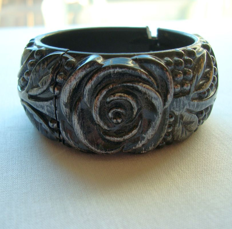 Germany or W.G. Black Eloxal Hinged Cuff Bracelet Floral Vintage Jewelry