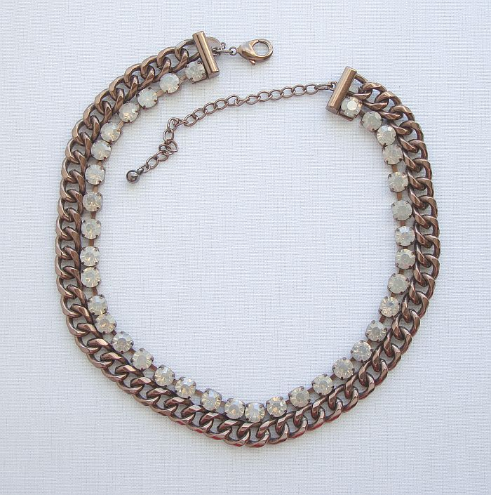 Chico's Copper Curb Link Opalite Rhinestones Necklace Designer Jewelry