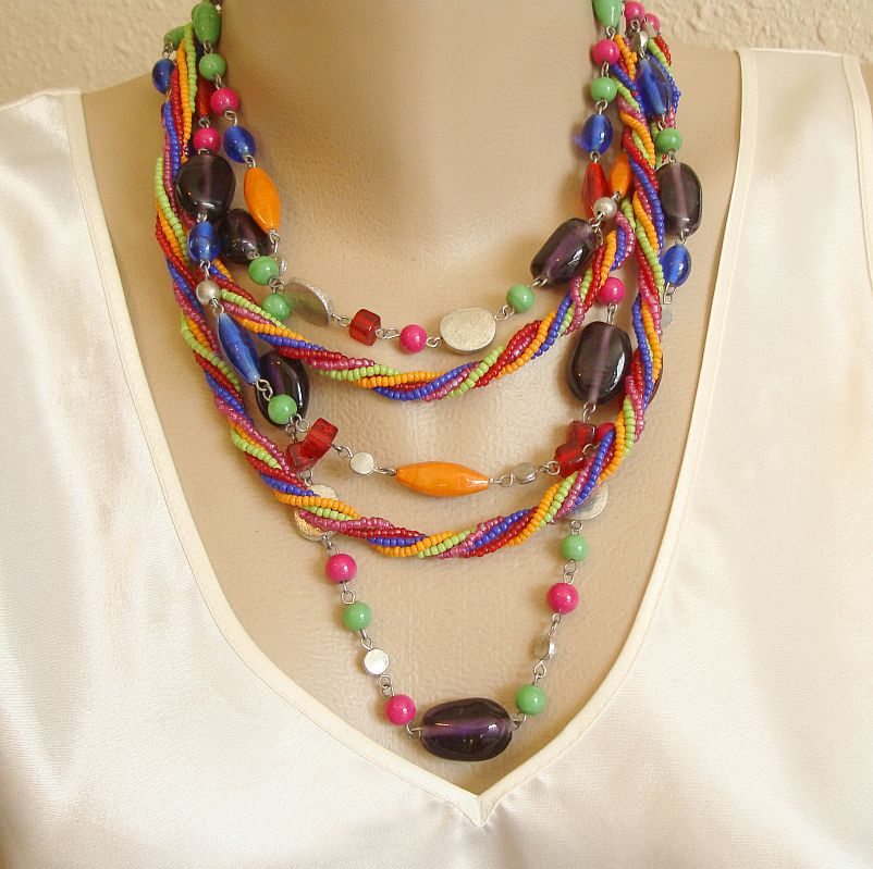 5-Strand Multi-Color Glass Bead Necklace Colorful Braided Jewelry