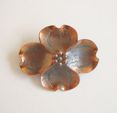 Nye Stuart Small Copper Dogwood Pin Vintage Jewelry